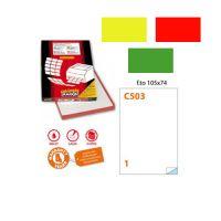 Conf. da 100 fogli A4 di etichette colorate rettangolari no margini
