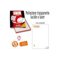 Conf. da 50 fogli A4 di etichette in poliestere trasparente lucido 21x29,7cm
