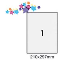 Confezione da 100 fogli di etichette bianche adesive 210x297mm