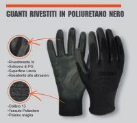 Guanto rivestito in poliuretano nero taglia 8